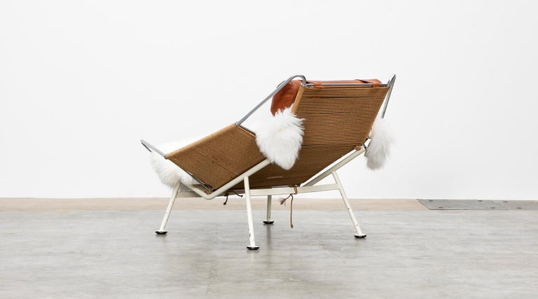 Mid-20th Century 1950s Flag Halyard Lounge Chair by Hans Wegner 'a' For Sale
