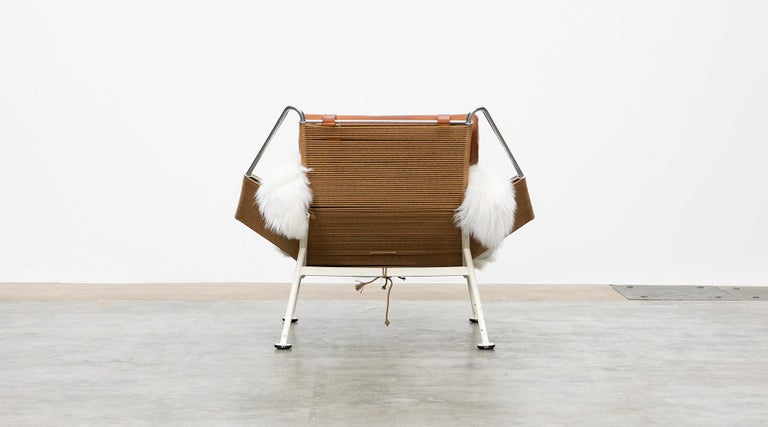 Metal 1950s Flag Halyard Lounge Chair by Hans Wegner 'a' For Sale