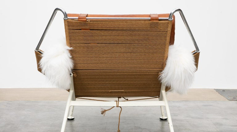 1950s Flag Halyard Lounge Chair by Hans Wegner 'a' For Sale 2