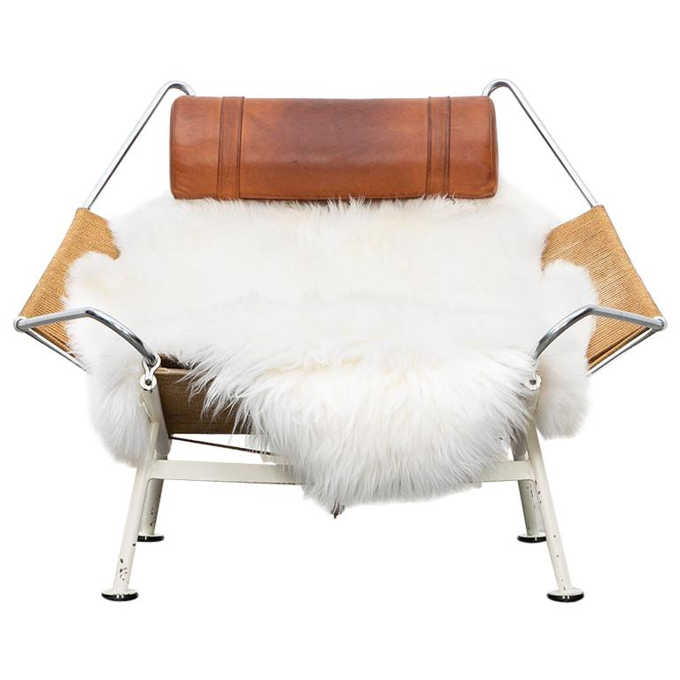 1950s Flag Halyard Lounge Chair by Hans Wegner 'a' For Sale