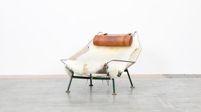 Mid-Century Modern 1950s Flag Halyard Lounge Chair by Hans Wegner 'b' For Sale
