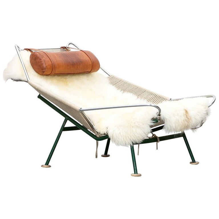 1950s Flag Halyard Lounge Chair by Hans Wegner 'b' For Sale