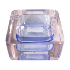 1950s Flavio Poli for Seguso Purple Murano Glass Square Ashtray