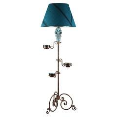 1950s Floor Lamp with Blue Ceramic Figure