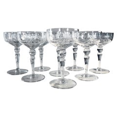 1950s Floral and Bow Tie Etched Glass Coupes, Set of 8
