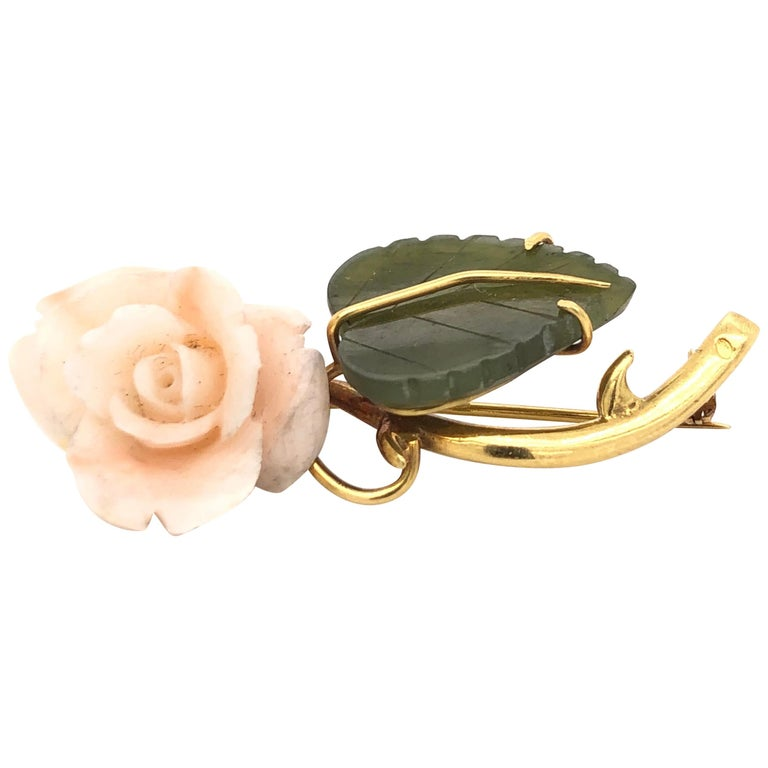 1950s Floral Brooch Yellow Gold 18 Karat For Sale
