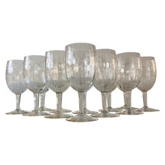 1950s Floral Etched Glass Wine Stems, Set of 12