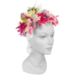 1950s Floral Hat with Silk Velvet Flowers and Tubular Organza Steam