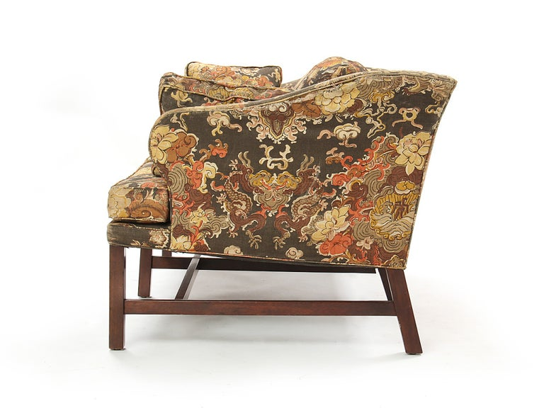 Mid-Century Modern 1950s Floral Print Settee by Edward Wormley for Dunbar in Walnut For Sale