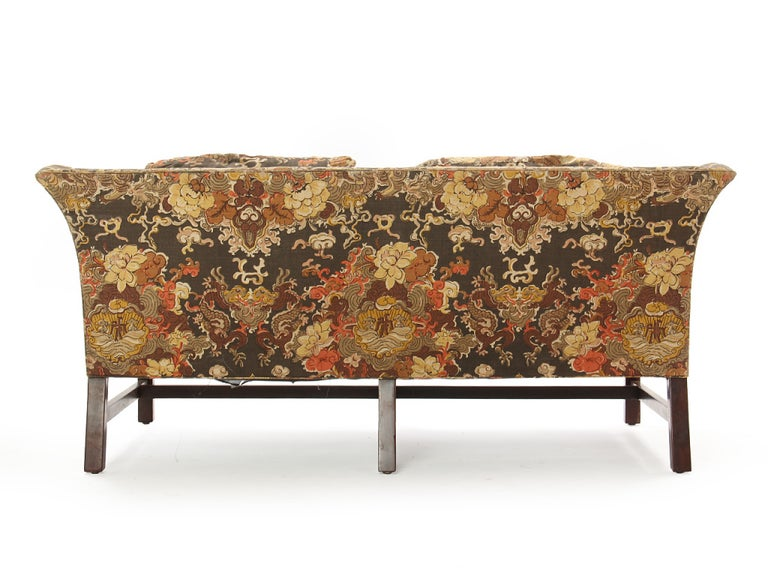 American 1950s Floral Print Settee by Edward Wormley for Dunbar in Walnut For Sale