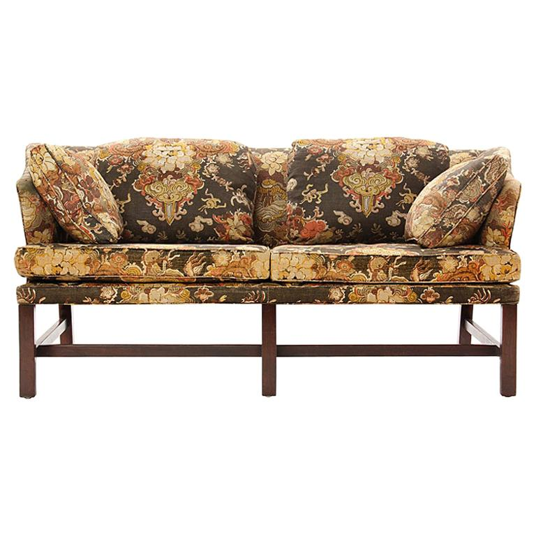 1950s Floral Print Settee by Edward Wormley for Dunbar in Walnut For Sale