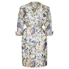 1950s Floral Taffeta Silk French Couture New Look Style Dress