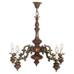 1950s Florentine Baroque Ceiling Chandelier, Turned Laquered Walnut and Bronze