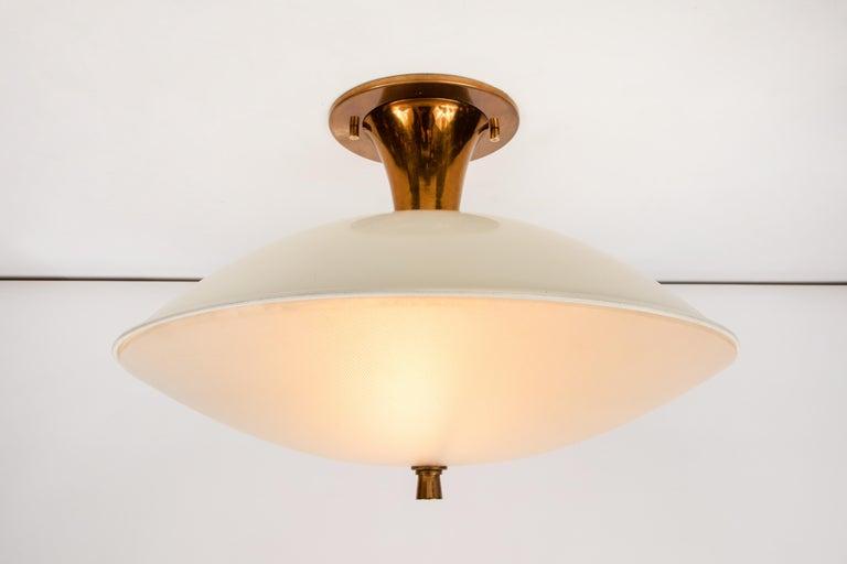 Mid-Century Modern 1950s Flushmount Ceiling Light by Oscar Torlasco for Lumi For Sale