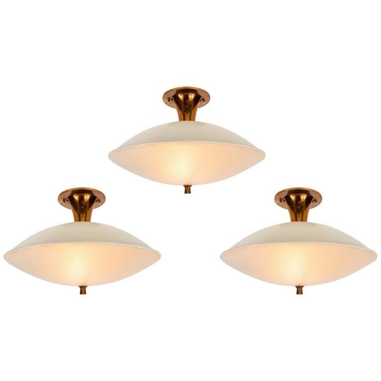 1950s Flushmount Ceiling Light by Oscar Torlasco for Lumi For Sale