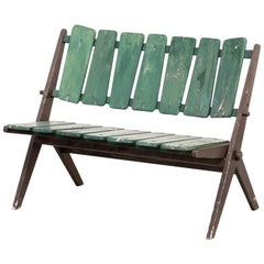 1950s Foldable Wooden Slatted Bench