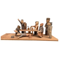 1950s Folk Art Carving Of A Group Of Drunk Swedes At A Bar Scene