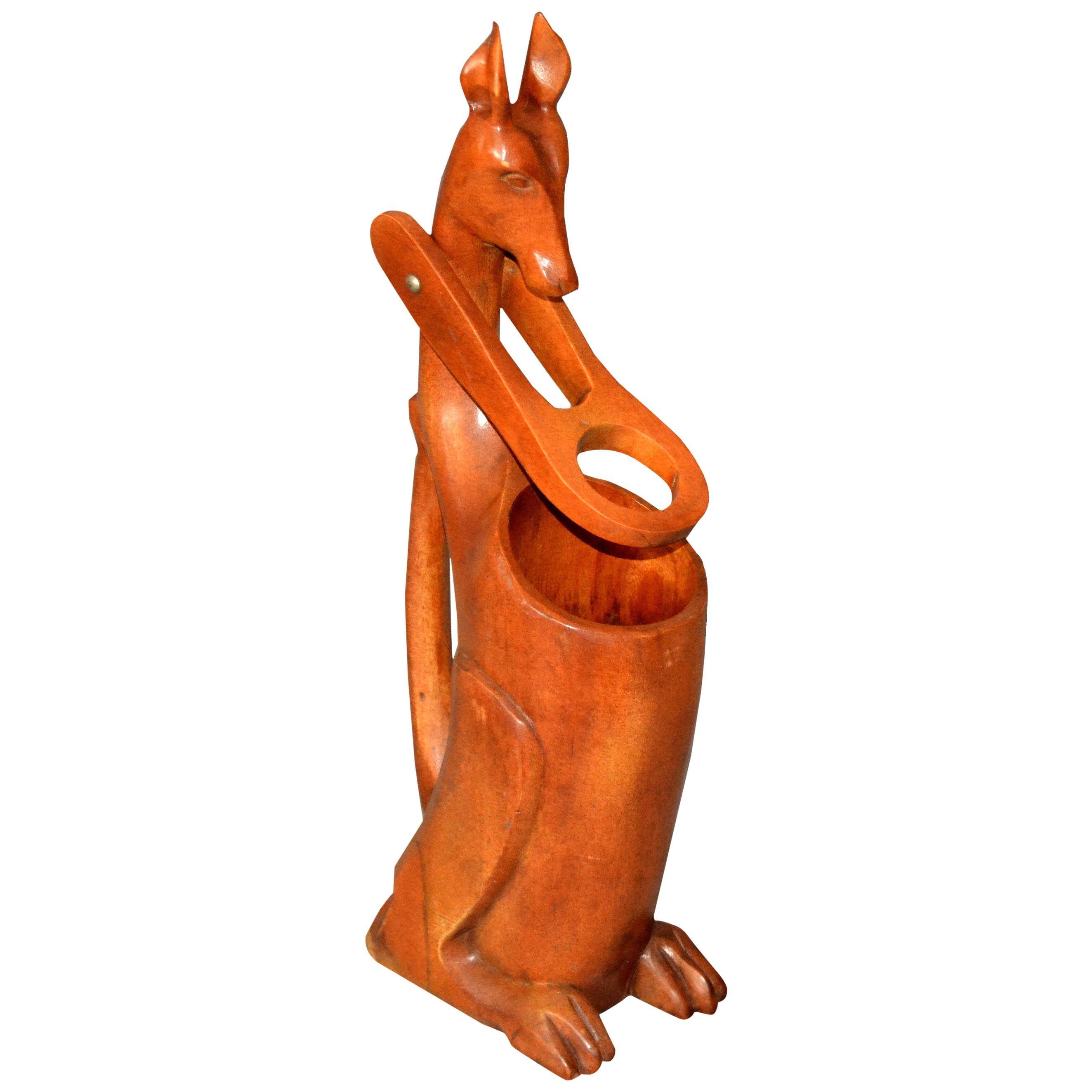 1950s Folk Art Hand Carved Wooden Kangaroo Wine Bottle Holder, Pourer, Dispenser