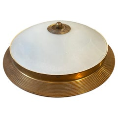 1950s Fontana Arte Attributed Brass and Glass Round Ceiling Light