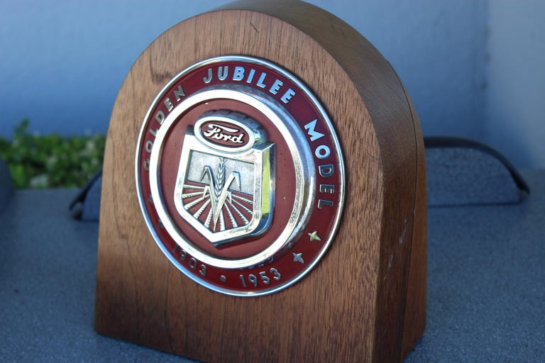 1950s Ford Golden Jubilee Emblem Wooden Plaque For Sale 5