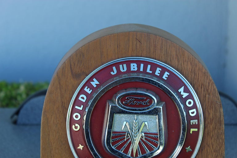 American 1950s Ford Golden Jubilee Emblem Wooden Plaque For Sale