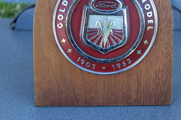 1950s Ford Golden Jubilee Emblem Wooden Plaque In Good Condition For Sale In Orange, CA