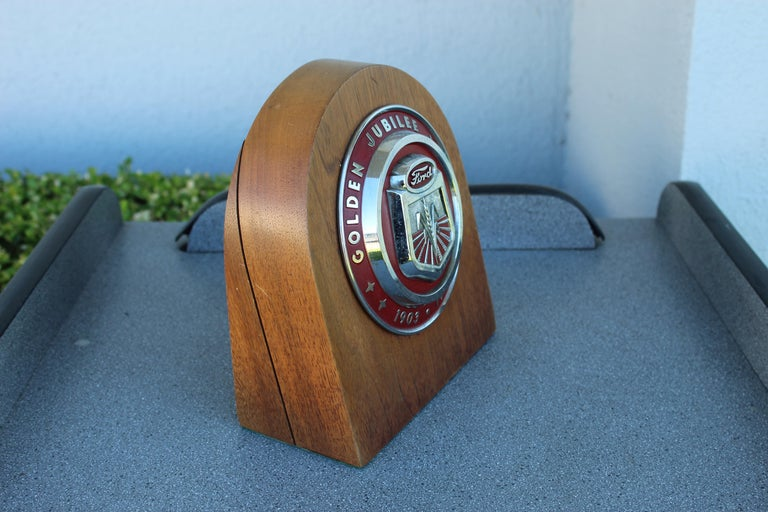 Mid-20th Century 1950s Ford Golden Jubilee Emblem Wooden Plaque For Sale