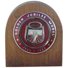 1950s Ford Golden Jubilee Emblem Wooden Plaque
