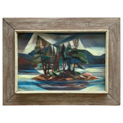 1950s Forest Island Cubist Painting