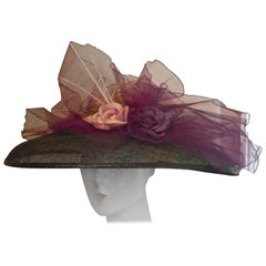 1950s Formal Summer Garden Party Hat, la Tribe des Oiseaux