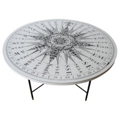 1950s Coffee Table Formica Sundial Compass Table Top