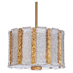 1950s Four-Light Gilt Brass and Frosted Glass Chandelier by Kalmar
