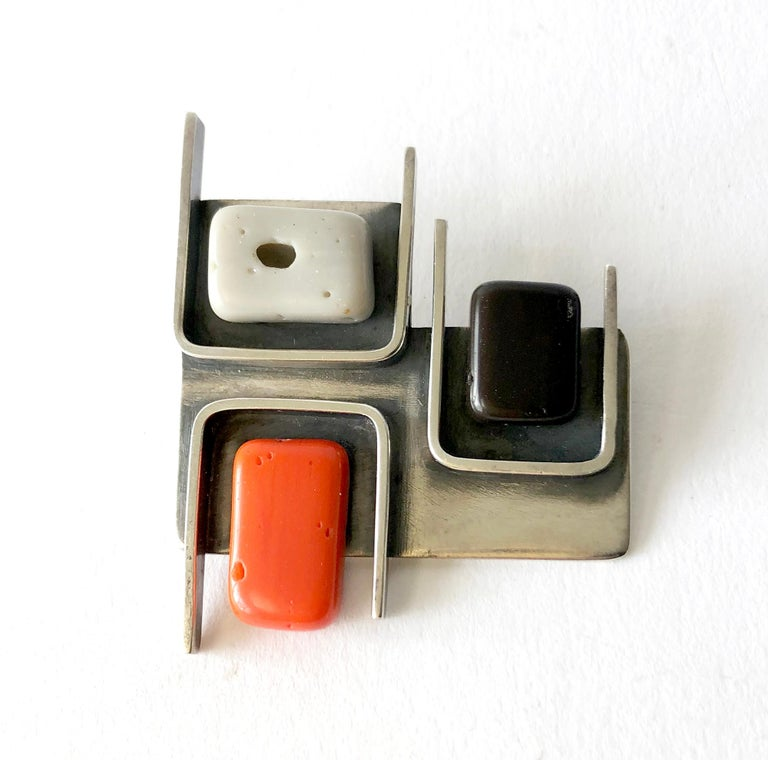 Modernist sterling silver and natural stone brooch created by Frances Holmes Boothby of Weston, Vermont.  Brooch measures 1 7/8