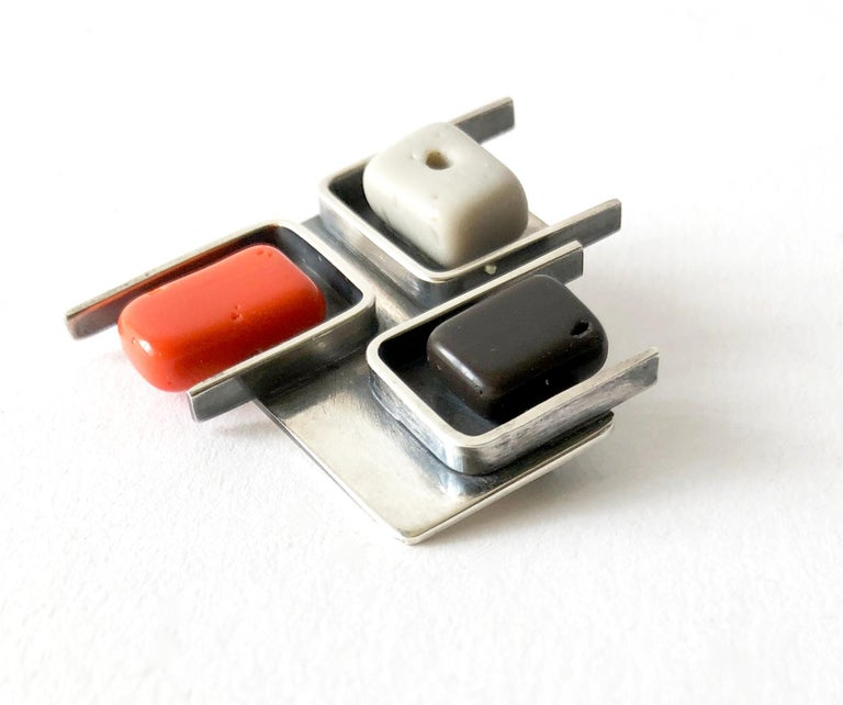 1950s Frances Holmes Boothby Sterling Silver Modernist Brooch In Good Condition For Sale In Los Angeles, CA