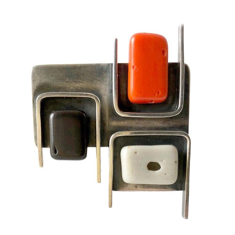 1950s Frances Holmes Boothby Sterling Silver Modernist Brooch For Sale