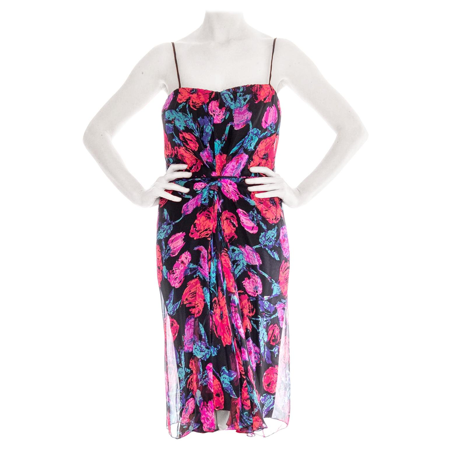 1950S FRANK STARR Silk Chiffon Floral Cocktail Dress
