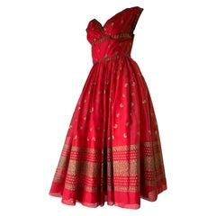 1950 Fred Perlberg Crimson Indian-Inspired Dancing Dress W/ Full Skirt