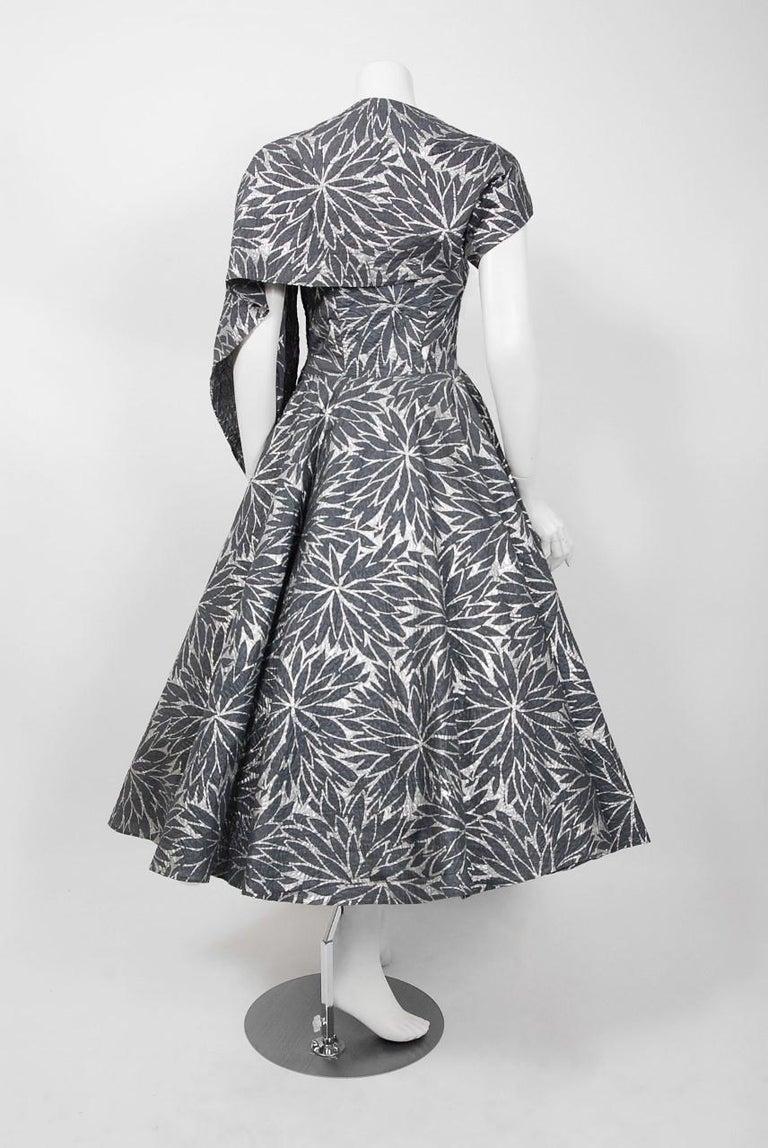 1950 S Fred Perlberg Metallic Floral Gray Cotton Strapless