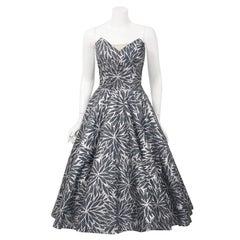 1950's Fred Perlberg Metallic Floral Gray Cotton Strapless Full Dress & Bolero