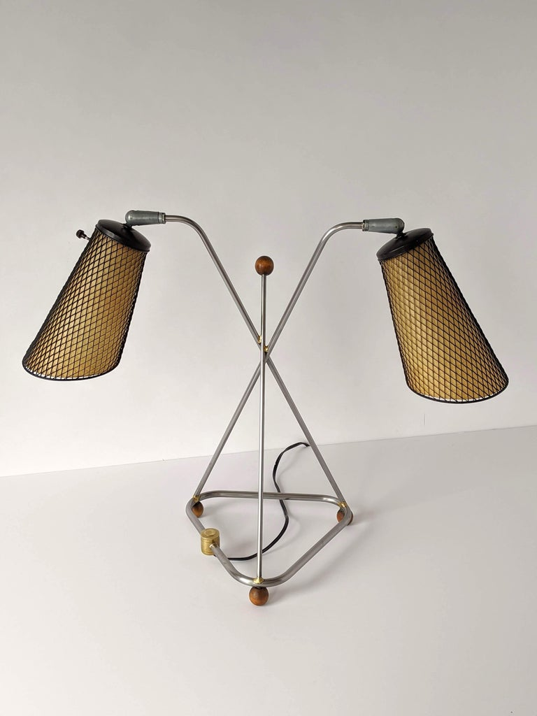 Metal 1950s Frederick Weinberg Table Lamp, USA For Sale