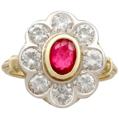 1950s French 2.05 Carat Diamond and Ruby Color Doublet Gold Cluster Ring