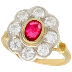 1950s French 2.05 Carat Diamond and Oval Cut Ruby Color Doublet Cluster Ring
