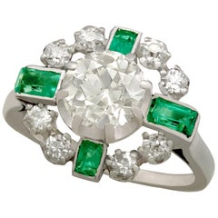 1950s French 2.06 Carat Diamond and Emerald White Gold Dress Ring
