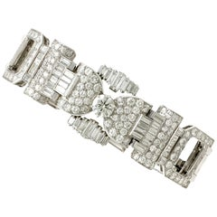 1950er Jahre Französisches 21,38 Karat Diamant und Platin Armband