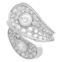 1950s French 3.36 Carat Diamond and Platinum Crossover Ring