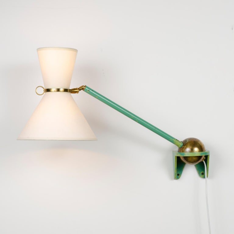 Mid-Century Modern 1950s French Adjustable and Telescoping Wall Lamp by Robert Mathieu For Sale