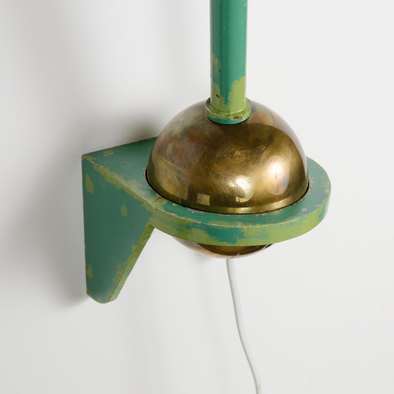 Brass 1950s French Adjustable and Telescoping Wall Lamp by Robert Mathieu For Sale