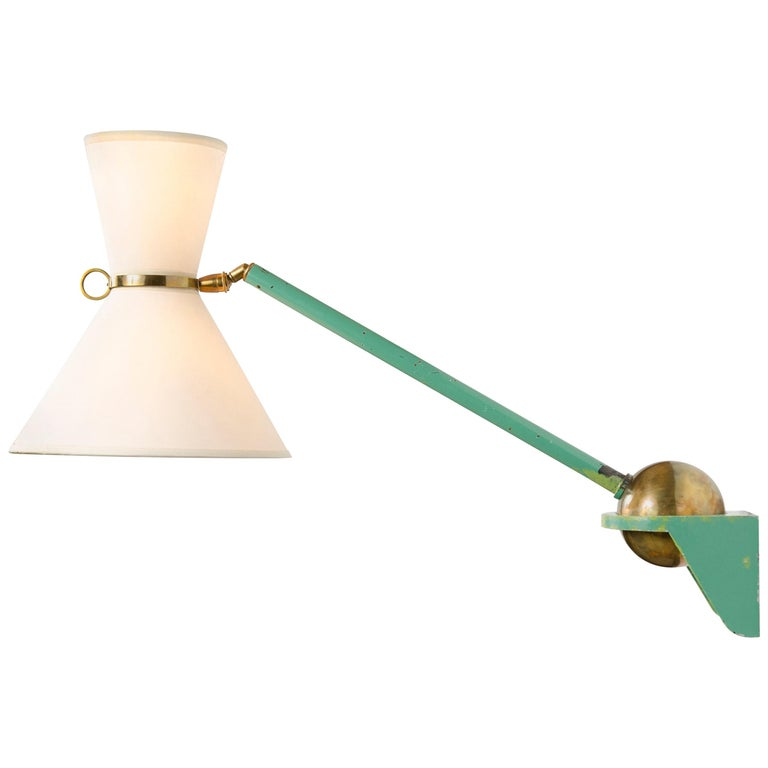 1950s French Adjustable and Telescoping Wall Lamp by Robert Mathieu For Sale