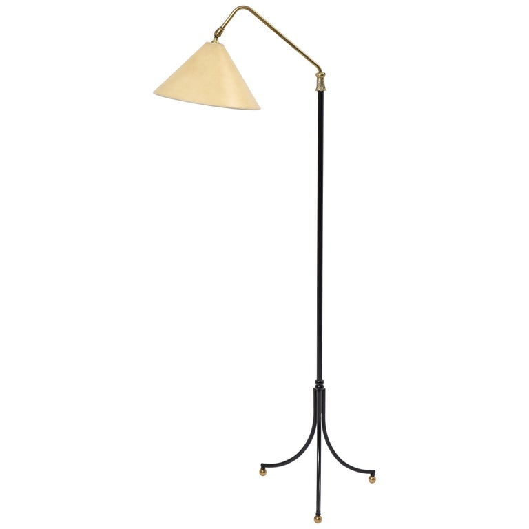 1950s French Arlus Iron and Brass Adjustable Floor Lamp For Sale