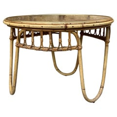 1950's French Bamboo Coffee Table